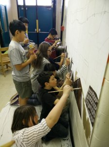 Painting our Train Mural - keep on moving!